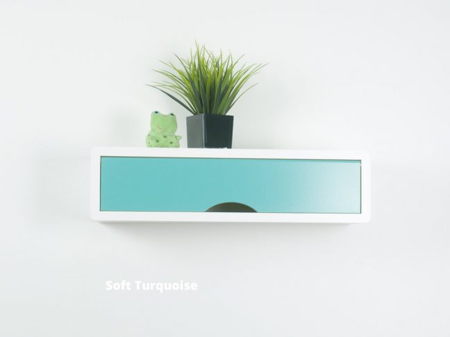 contemporary floating shelf, white wall cabinets blue