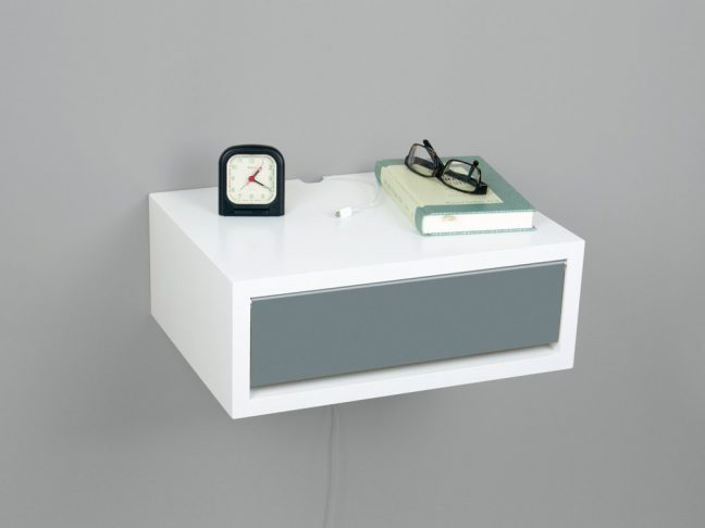 modern floating nightstand white shelf gray door