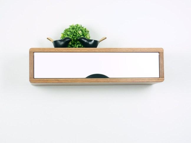 Antero Minimalist Floating Entryway Shelf, Mid-Century Modern Style Cabinet