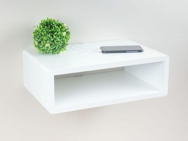 slim white floating nightstand minimalist design