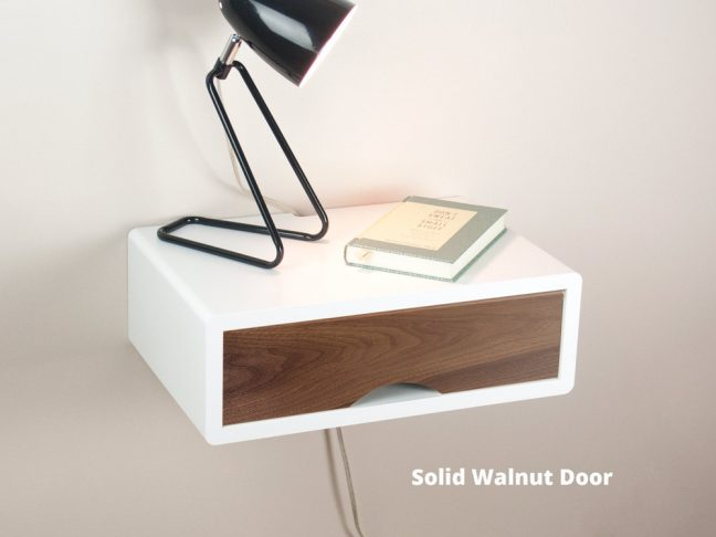 Mid-century modern white floating nightstand with door