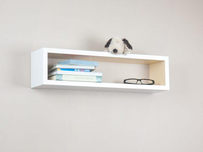 White and Natural Floating Shelf, Beautiful Wood Cube Shelf