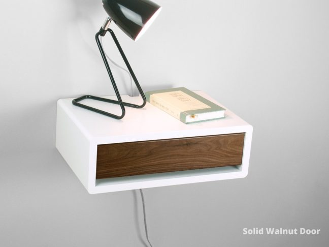 mid century modern floating bedside table with solid walnut door - Modern Nightstand