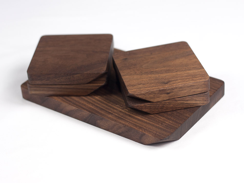 Tunga Natural Walnut Wood Coasters, Set of 4 Drink Coasters