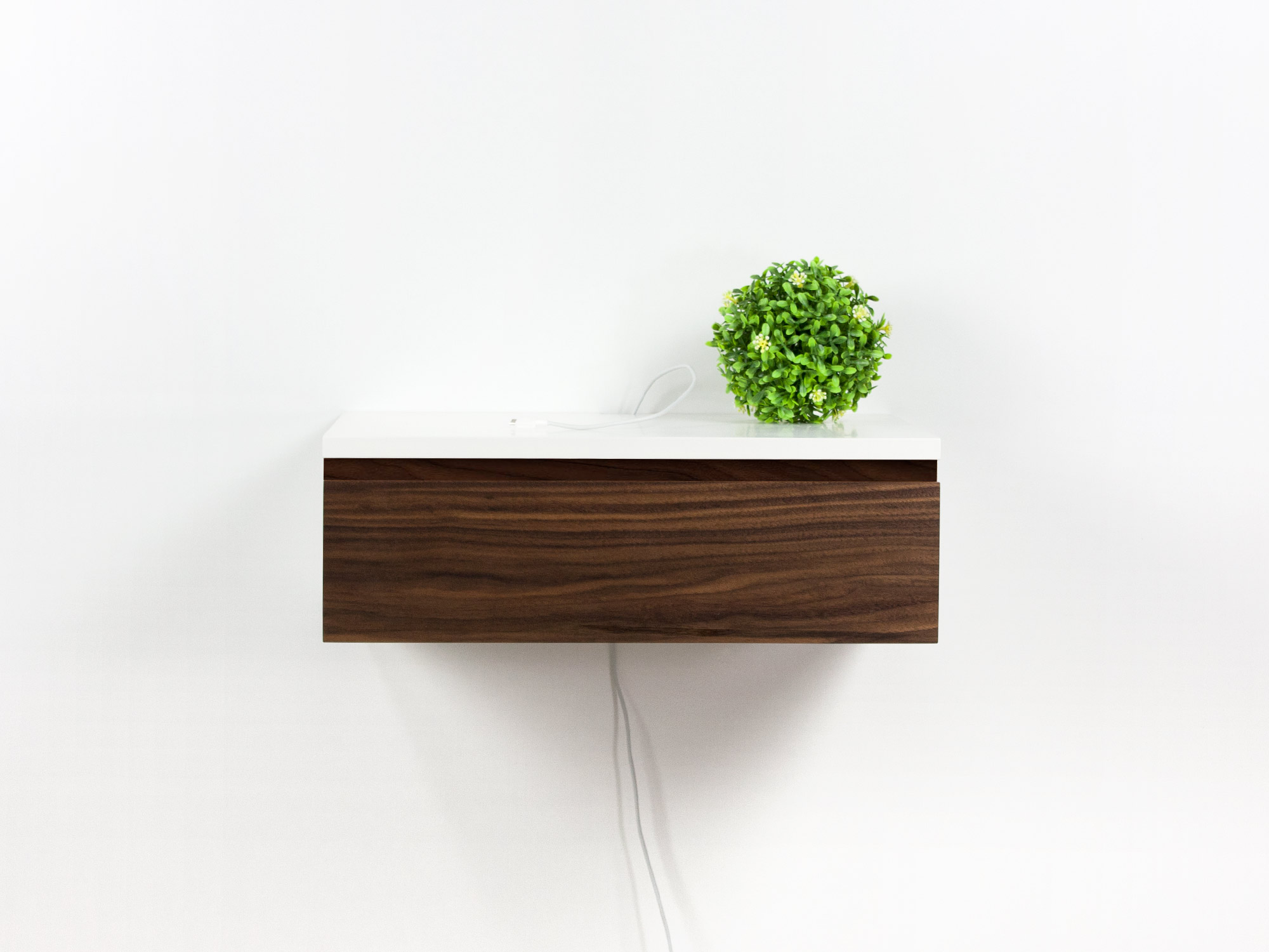 Walnut Floating Nightstand Drawer Bedside Table Spark Shell Craft