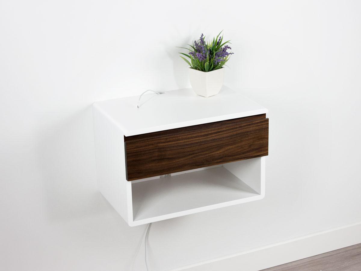 Walnut Floating Nightstand One Drawer One Shelf Spark