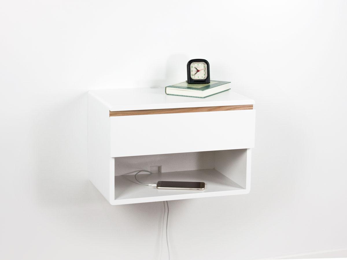 Blanca Floating Nightstand Drawer Shelf One Drawer One Open Shelf