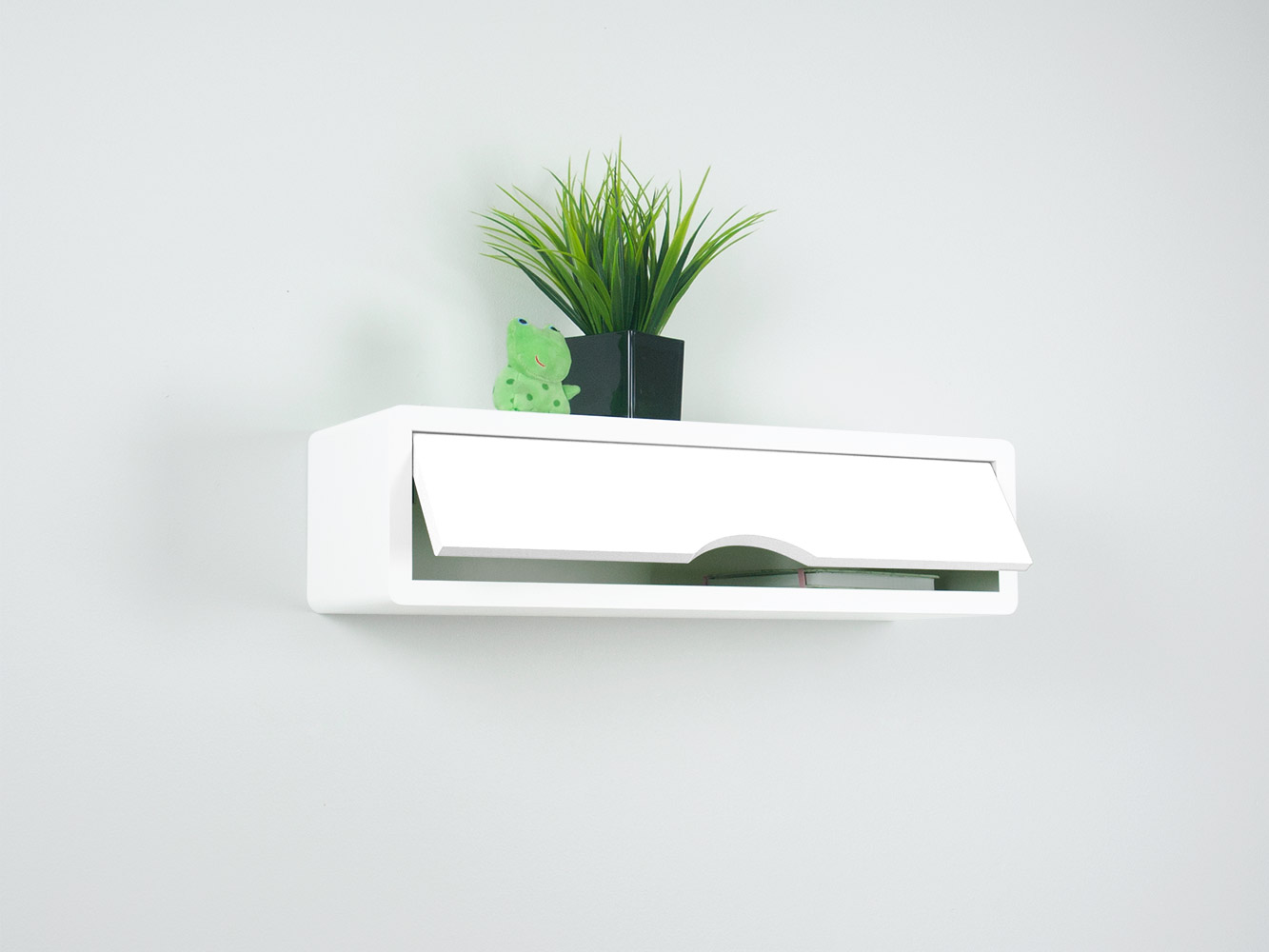 White floating shelf door open