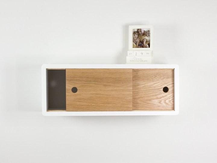 Mid-Century Modern Floating Shelf Sliding Door, Retro Style Floating Cabinet