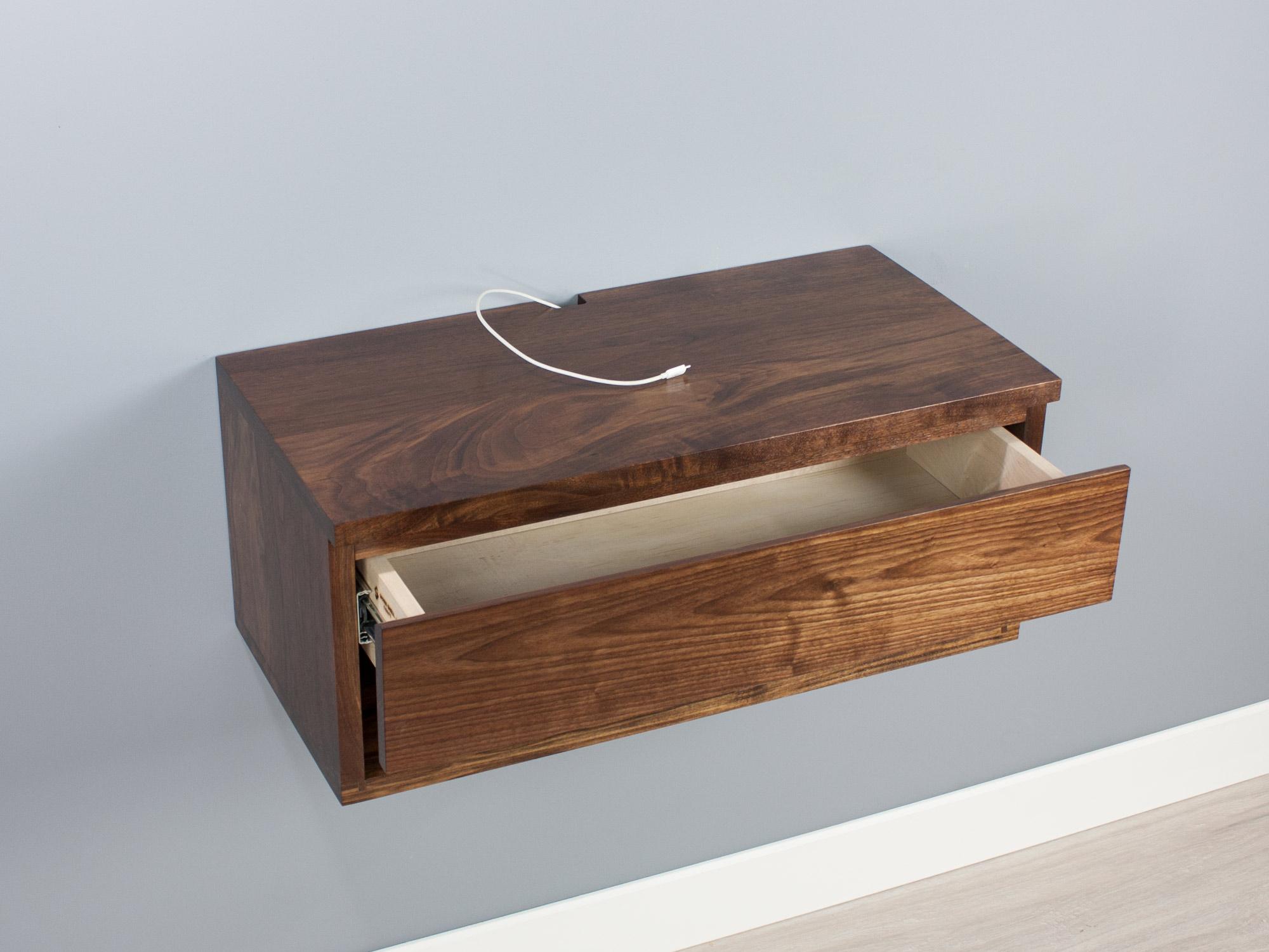 Walnut floating nightstand drawer shelf3