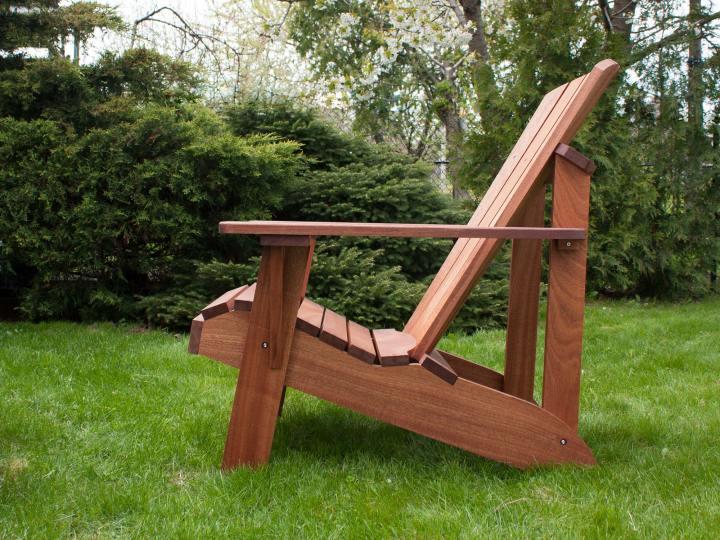 Sapele Mahogany Wood Muskoka Chair, Natural Hardwood Patio Chair