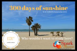 study spanish by the beach