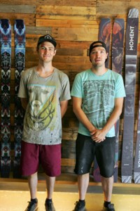 Kayla Anderson -  Max Smith and Moment Skis CEO Luke Jacobson stand in front of a finished pair of snow skis at their factory in Sparks.