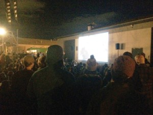 Kayla Anderson -  More than 500 people showed up at Moment Skis in Sparks last week for its annual movie premiere on the side of their building.