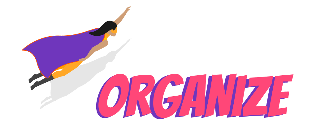 The word organize with a superhero
