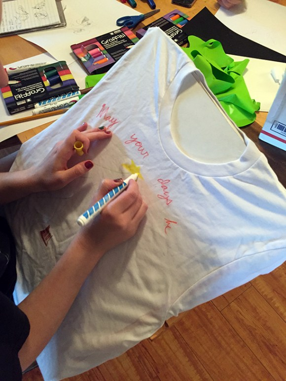 Fabric marker t-shirt