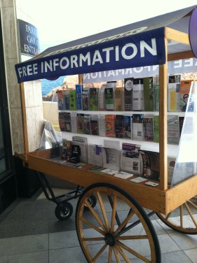 A stand with many activity brochures