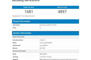Samsung A50 appears on Geekbench As SM-A505FN 1