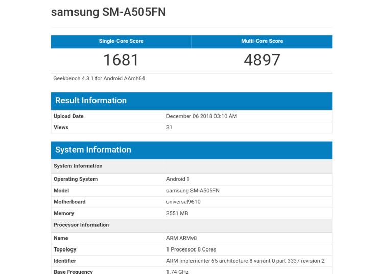 Samsung A50 appears onGeekbench As SM-A505FN 1