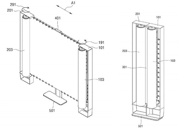 Samsung patents Rollable TV exposure: can be rolled up like a cloth 1