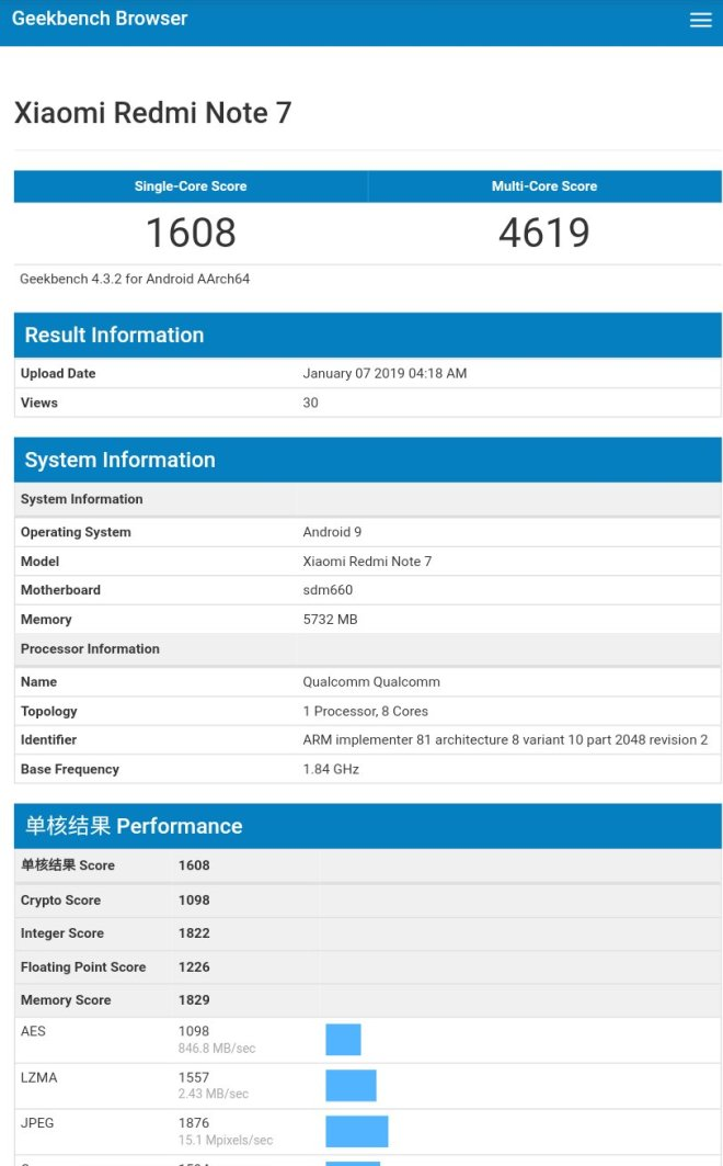 Redmi Note 7 geekbench score
