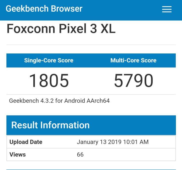 Google pixel 3 xl lite geekbench