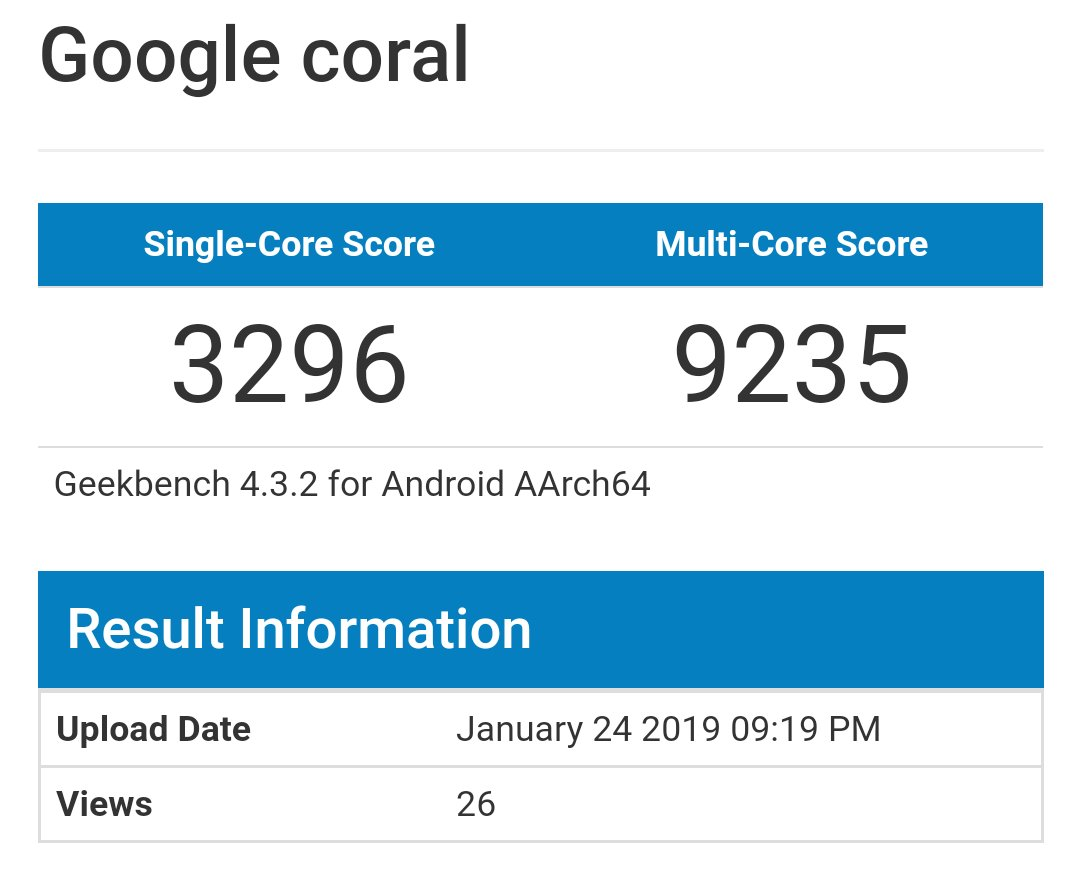 Google Coral on Geekbench with Androd q and sd855