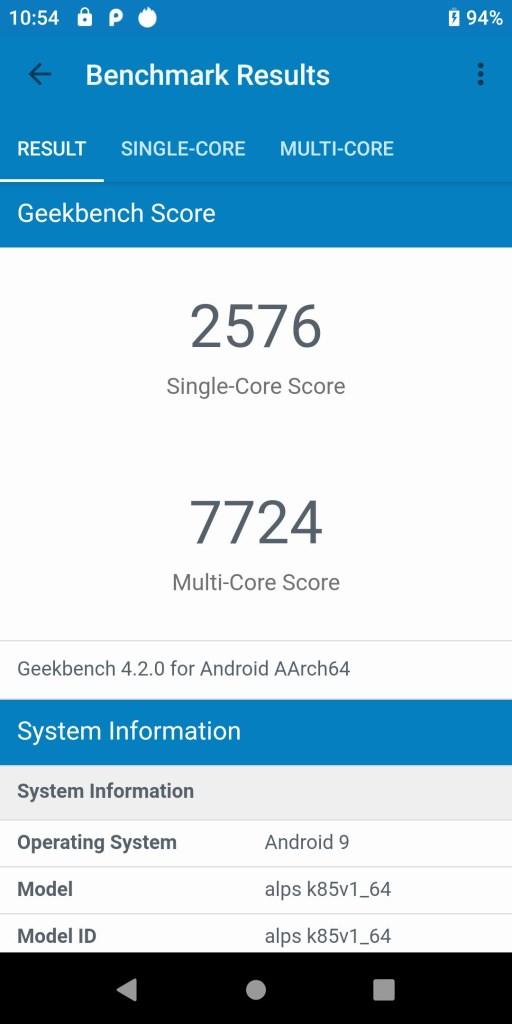 MediaTek G90T Geekbench Running Score
