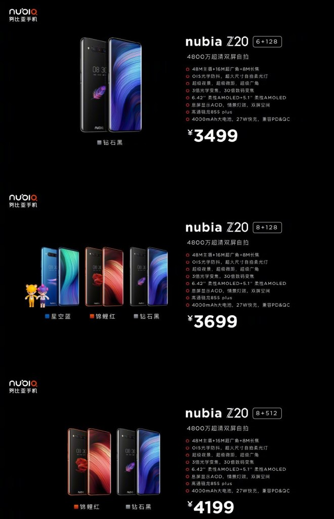 Nubia Z20 Price Announcement and availability