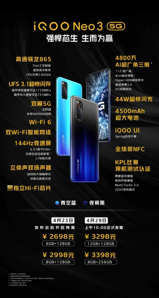 Iqoo neo3 Price and Specifications