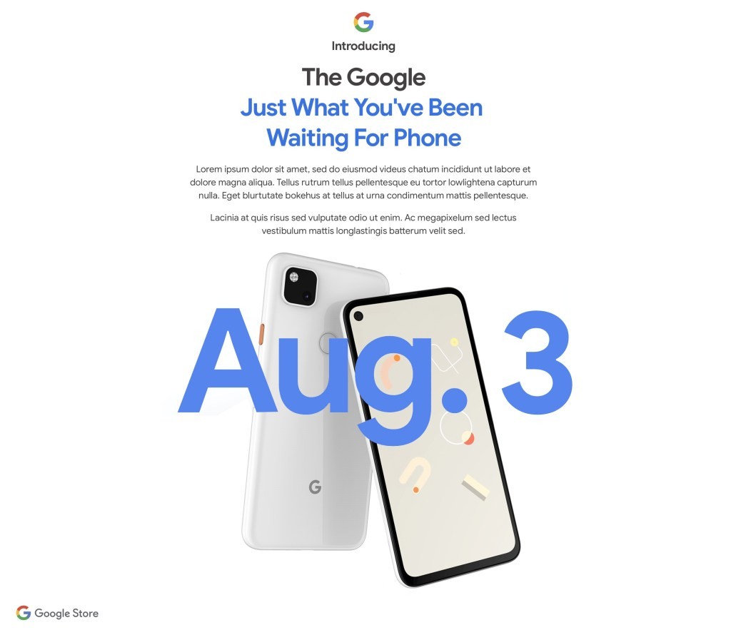 Google Pixel 4a Release Date is August 3