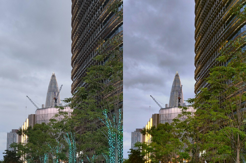 Equivalent focal length of 85mm for real-world sample comparison (right image with next-generation hybrid optical zoom technology)