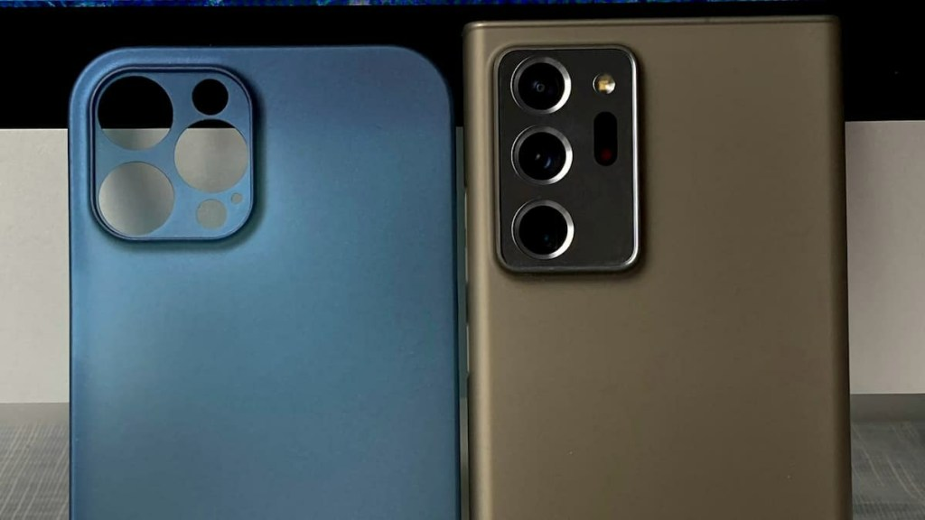 Apple iPhone 12 Pro Max body Compared with Note20 Ultra