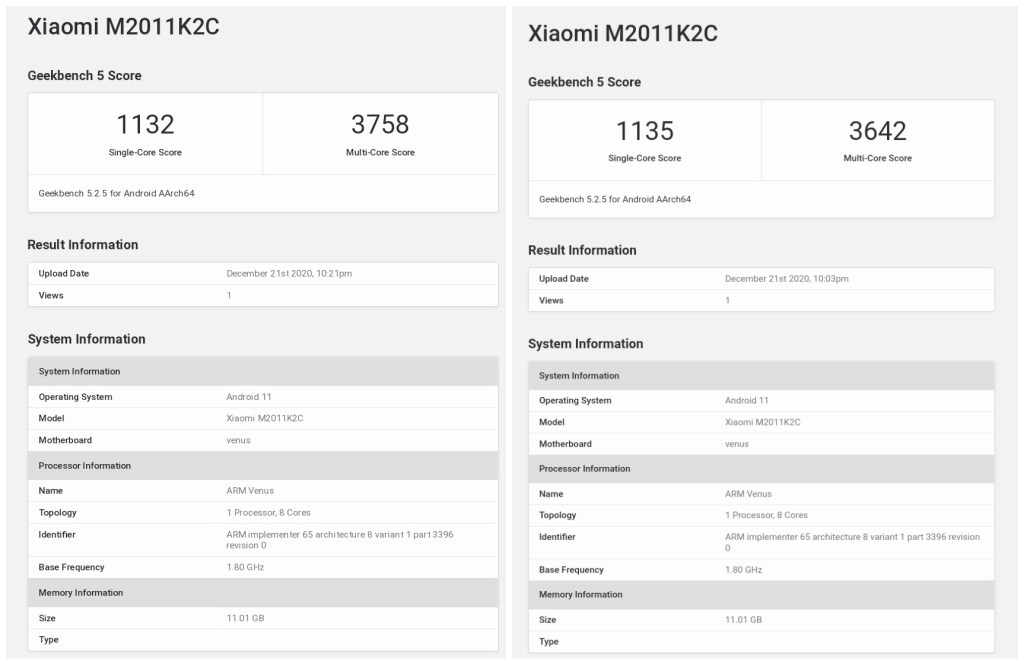 Xiaomi 11 Geekbench Performance