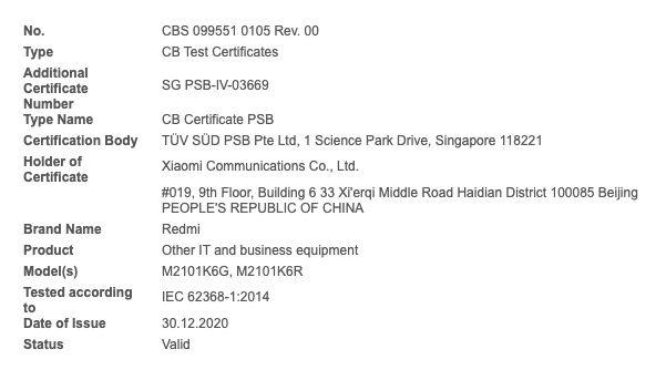 Redmi Note 10 Pro FCC Certification