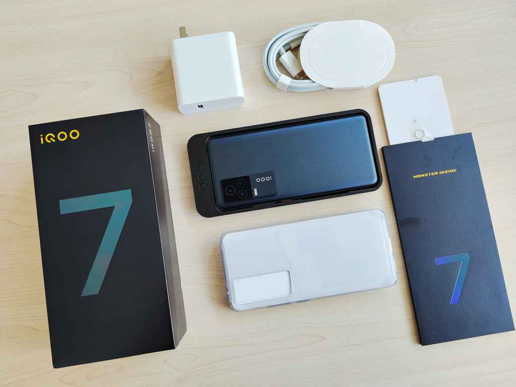 iQOO 7 in box accessories, Charger, c-type cable, case, liflet, phone