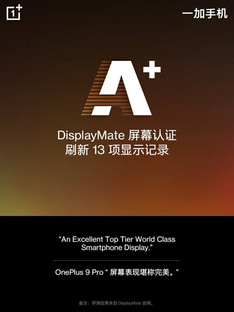 OnePlus 9 Series Display Features LTPO Tech, A+ Praised by DisplayMate