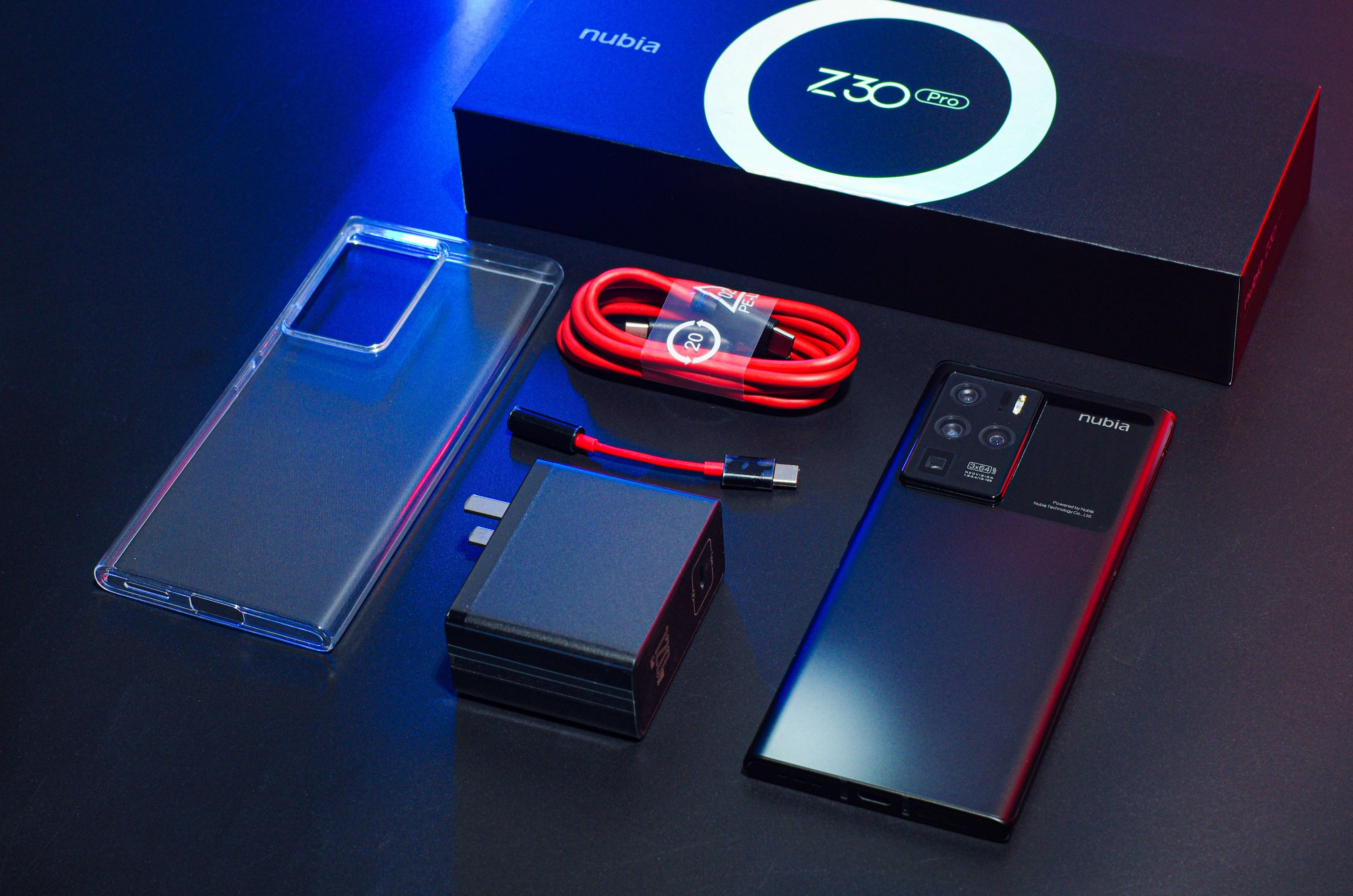 Nubia Z30 Pro Package comes with 120W GaN charger, data cable, Type-C to 3.5mm, phone case