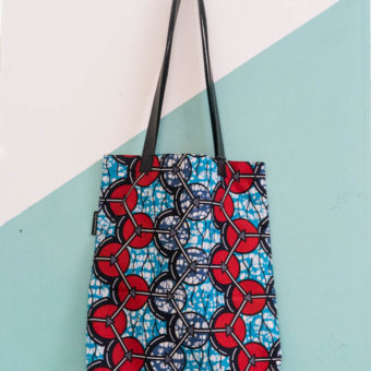 African Wax Print Tote – Red & Blue
