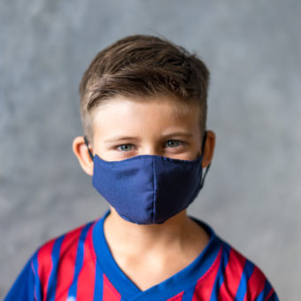 Kids Fitted Mask- Reversible Black & Navy