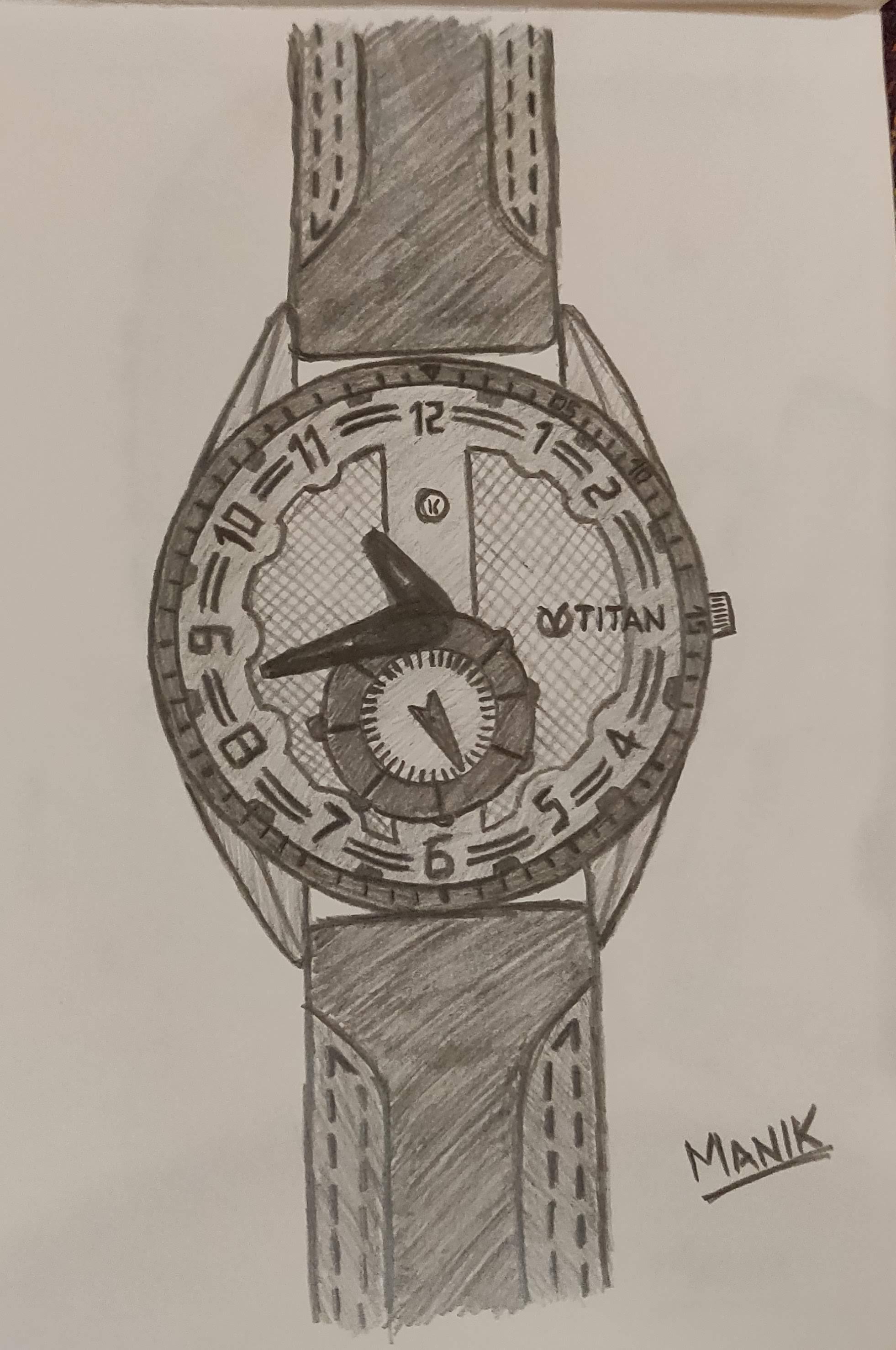 Titan wrist watch pencil sketch