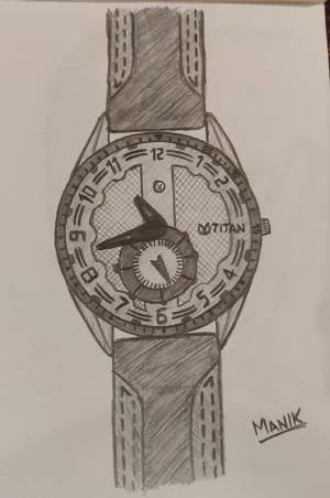 Titan wrist watch pencil sketch
