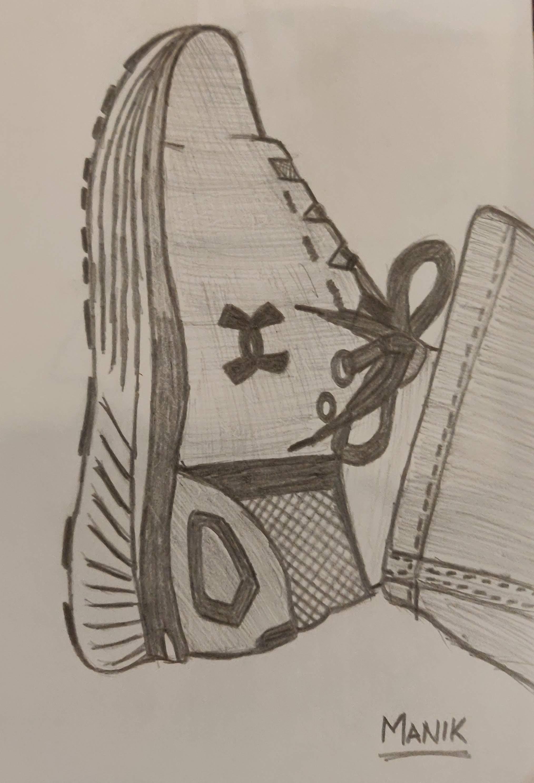 Pencil sketch of Under Armour Shoe