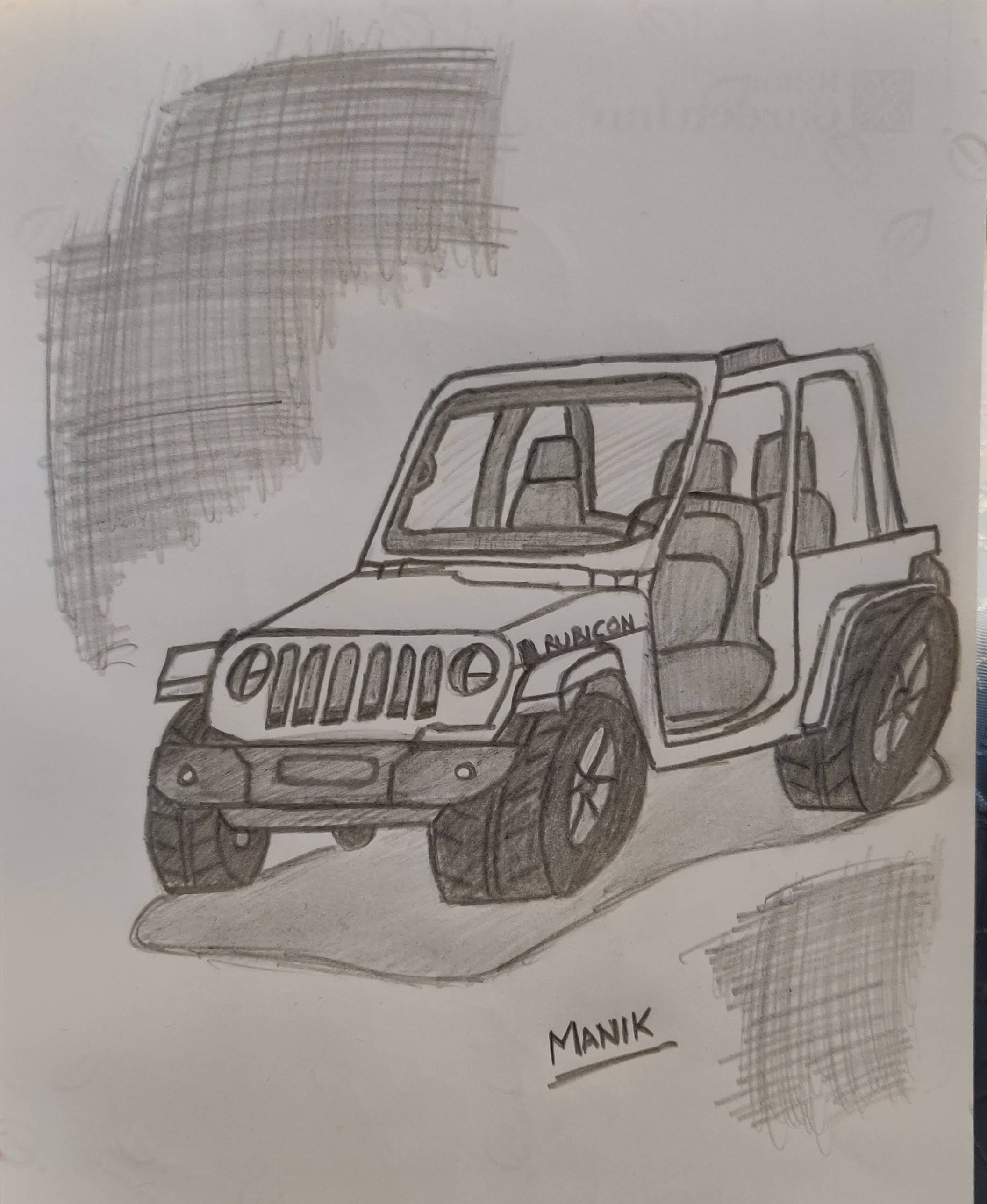 How to sketch a Jeep Rubicon 4x4