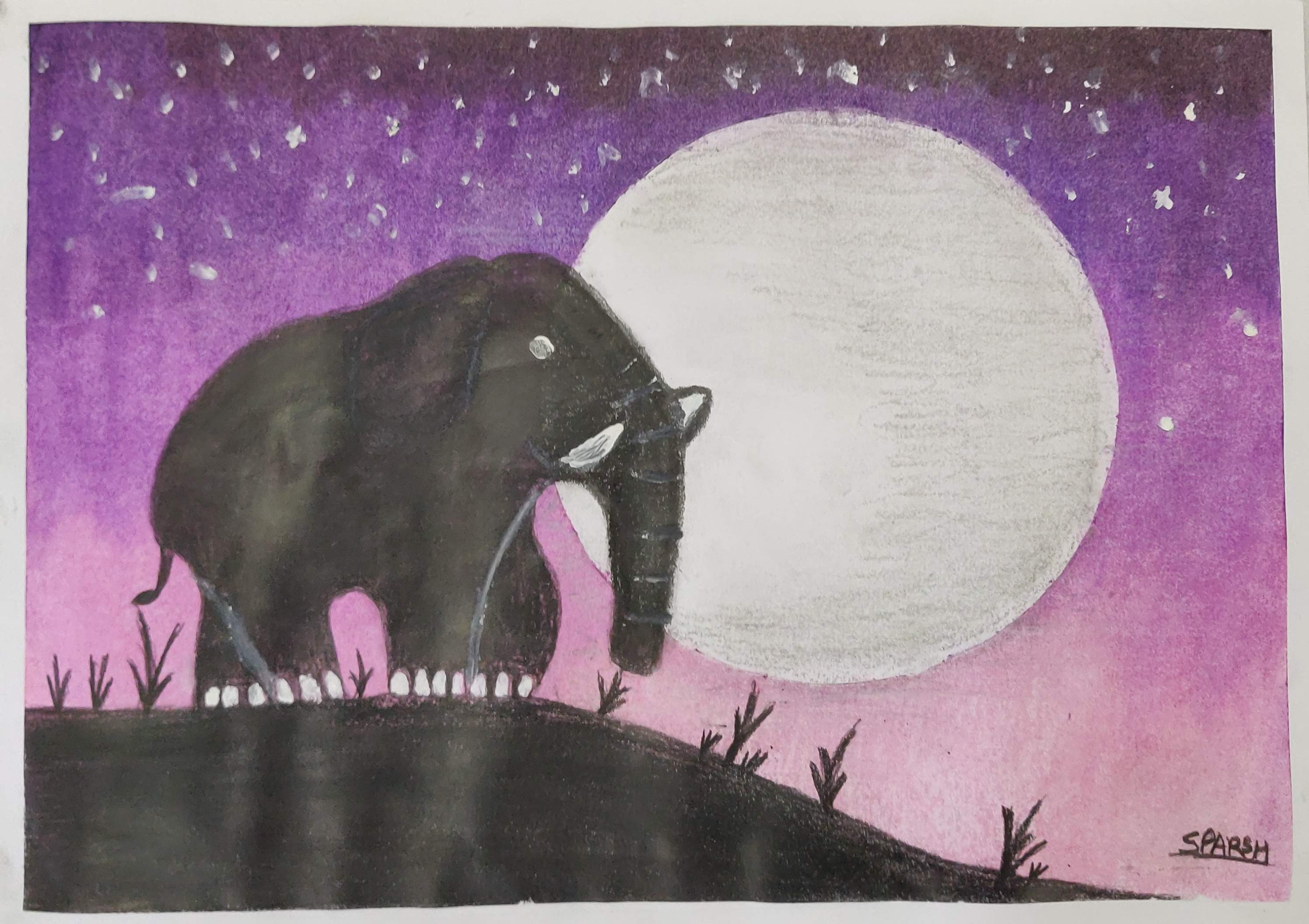 How to draw an Elephant scene with Oil Pastels