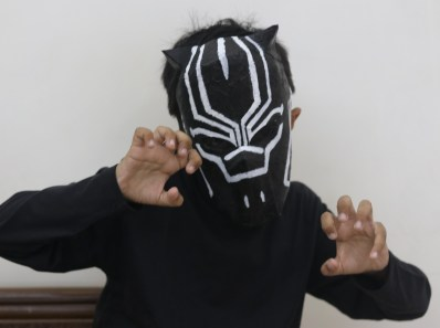 black panther mask with cardboard