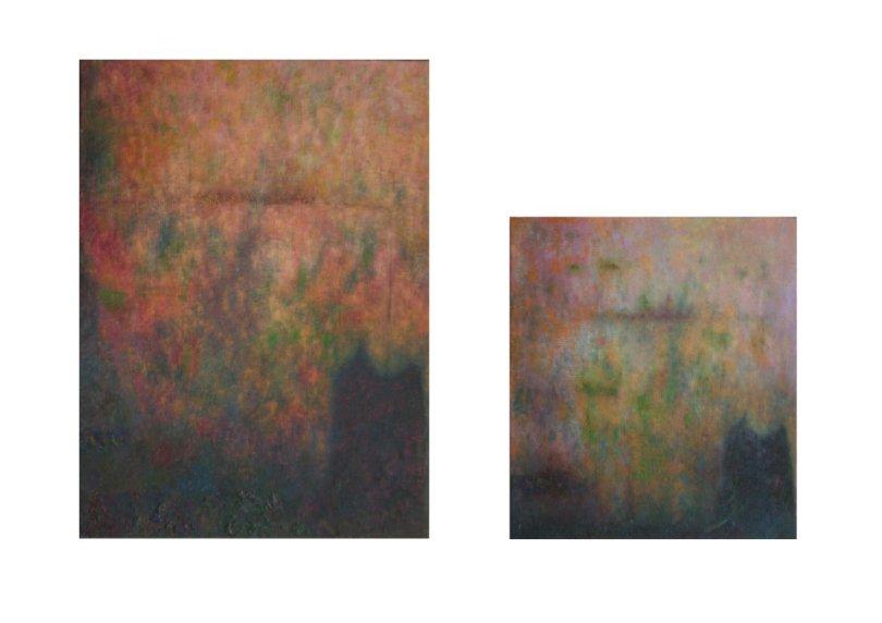 Spazio Tadini-SpazioinStabile- Soldi D'artista, il Dogma del debito- Previtera,Nel tempo immobili,olio su tela su tavola 50 x 37 cm e 36 x 32 cm
