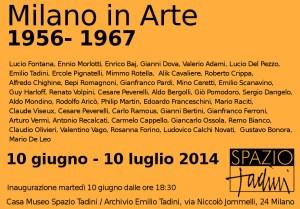 invito mostra Milano in arte 1956 - 1967