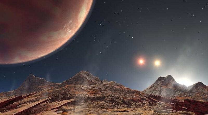 Rappresentazione artistica di un'esoluna di HD 188753 Ab, primo pianeta extrasolare scoperto all'interno di un sistema multiplo a 3 stelle (stella tripla)