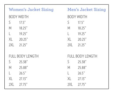 Jacket sizing for web 2014